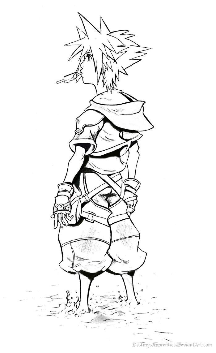 699x1141 Sora Kingdom Hearts 2 Lineart By Destinysapprentice