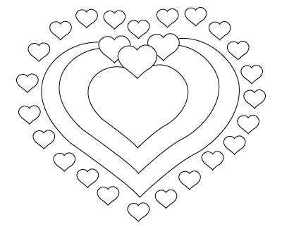 400x325 Valentine's Day Hearts Drawing To Color