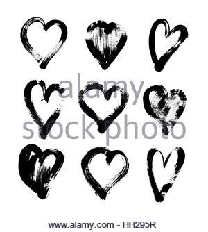 300x334 Brush Stroke Sketch Drawing Of Hearts Shape Set To Valentines Da