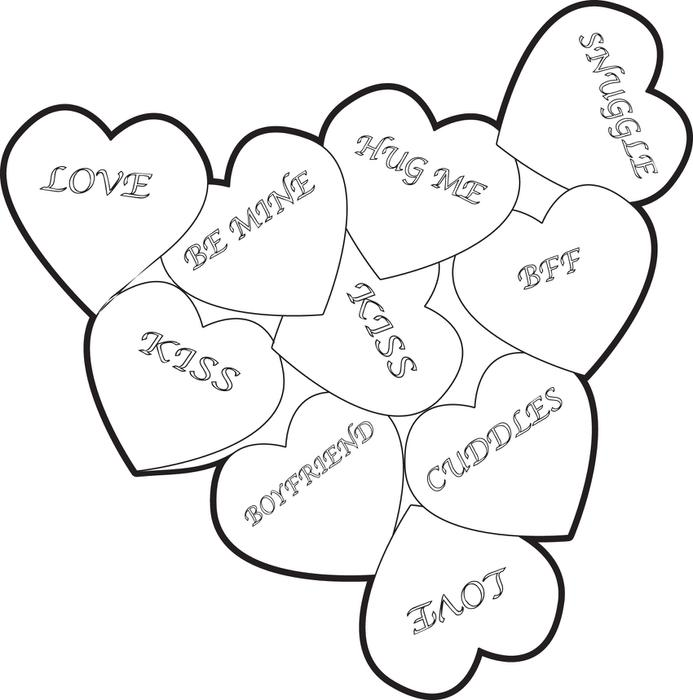 693x700 Free, Printable Valentine Heart Candies Coloring Page For Kids