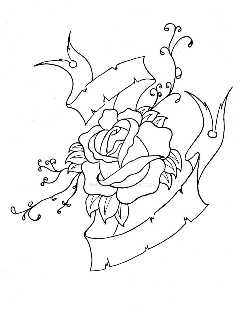 Heart With Rose And Banner: Hearts With Banners Drawing At GetDrawings
