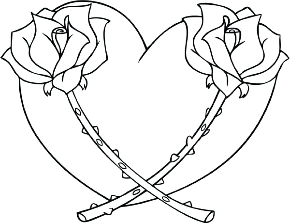 Hearts With Ribbons Drawing at GetDrawings | Free download