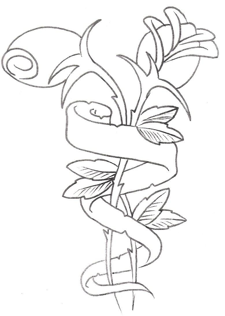 779x1096 Collection Of Rose With Name Banner Tattoo Design