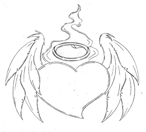 600x545 3d Hd Abstract Picture Heart Angel Wings Tattoo Design Idea