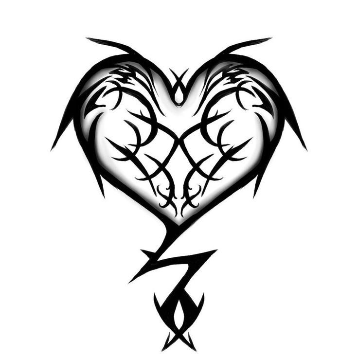 736x736 Drawn Broken Heart Tribal Heart