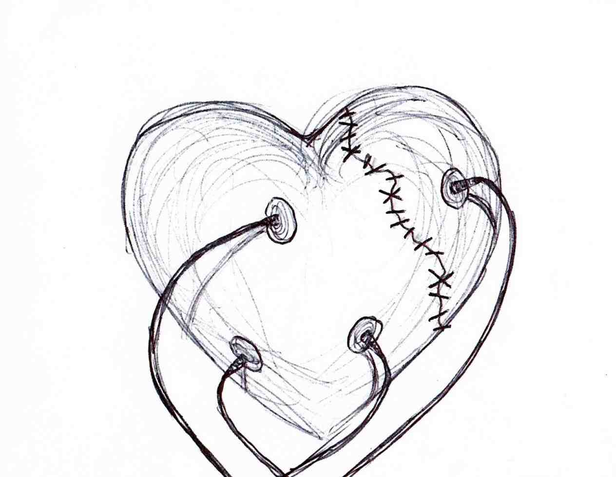 1264x980 Easy Drawings Of Broken Hearts With Wings