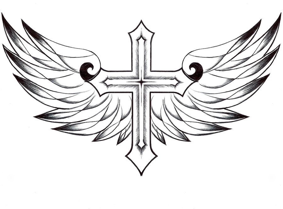 900x664 Free Printable Cross With Wings Coloring Pages For Adults