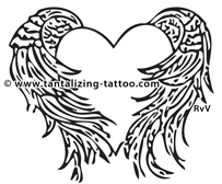 203x168 Collection Of Sword In Heart With Wings Tattoo Design