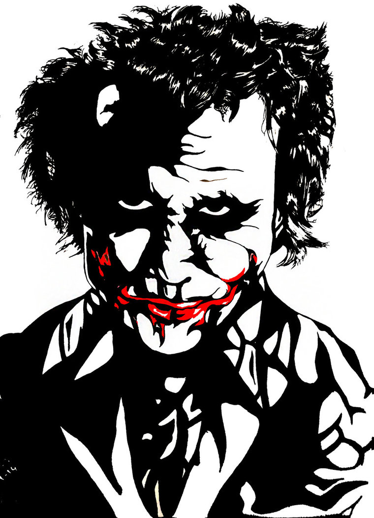 760x1052 Black And White Joker (Heath Ledger Style) By Fpfk