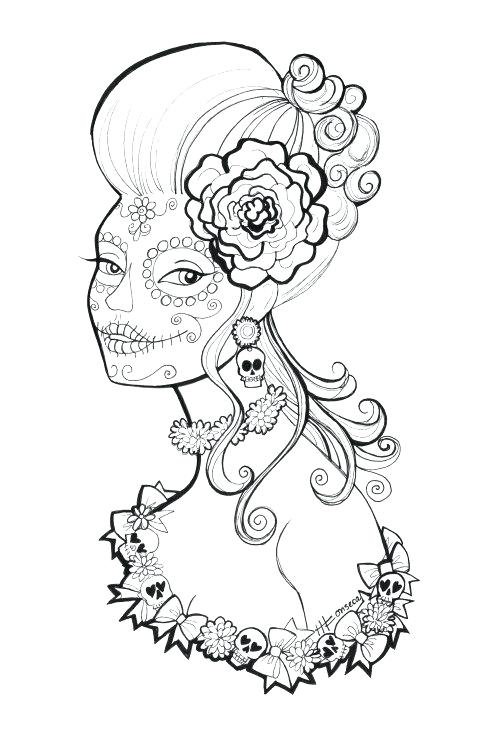 500x750 Hairstyle Coloring Pages Free Printable Day Of The Dead Coloring