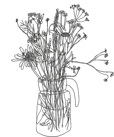 478x573 Aesthetic Flower Drawing Stickers By Marco Darvish Redbubble
