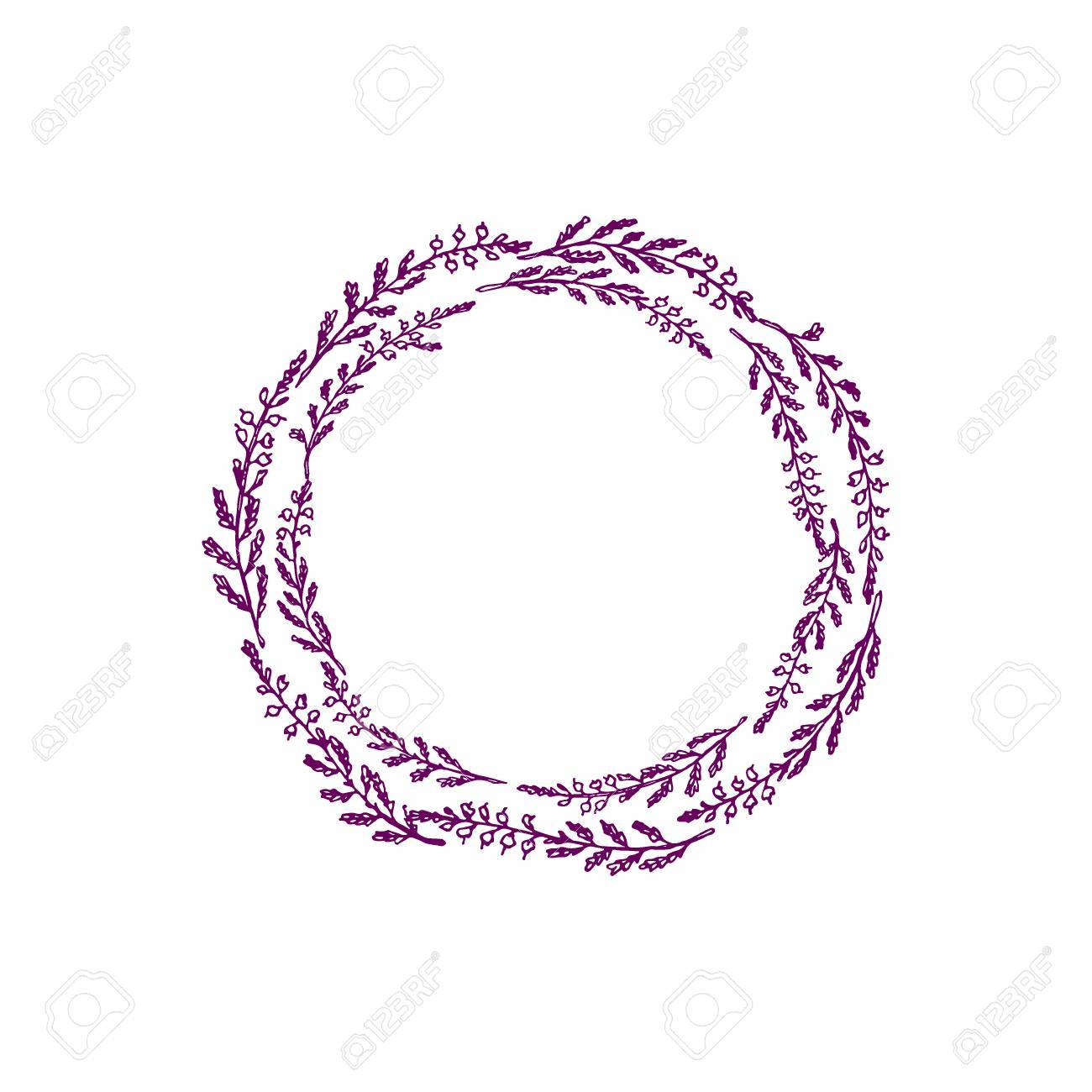 1300x1300 Hand Drawn Heather Wreath Royalty Free Cliparts, Vectors,
