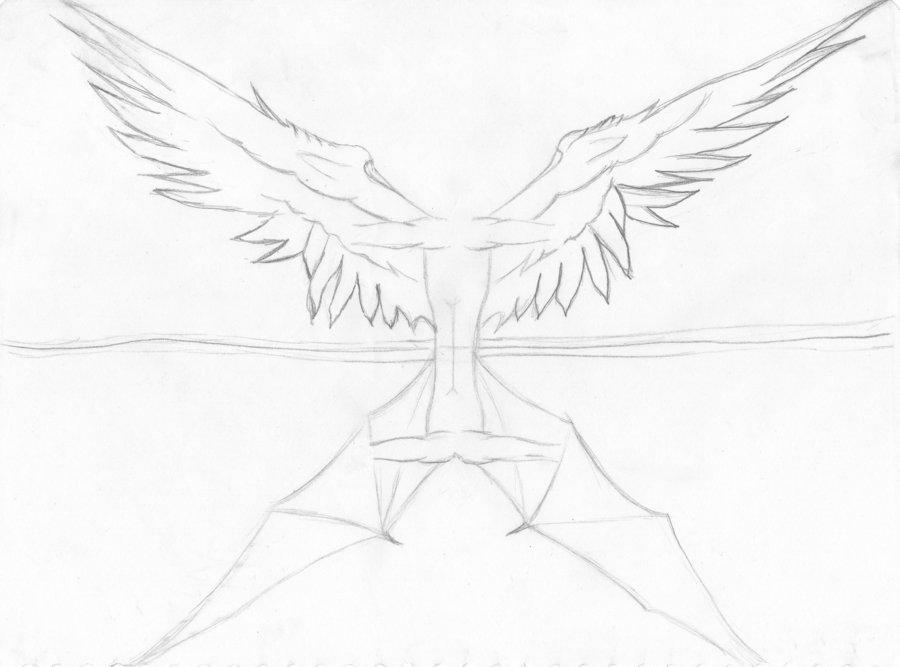 900x667 Wings Of Heaven And Hell By Mokona2000