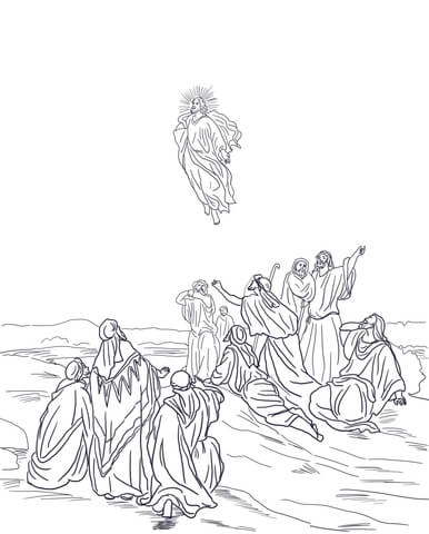 386x480 Jesus Ascension Into Heaven Coloring Page Free Printable