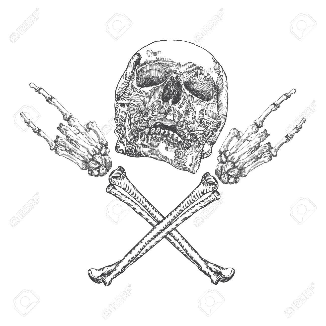 1300x1300 Skull And Crossbones Hands With Gesture Of Heavy Metal, Rock
