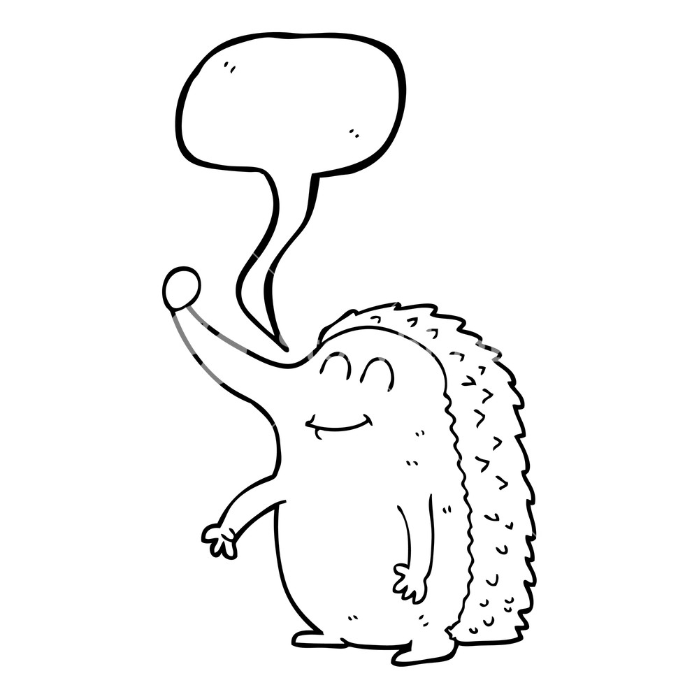 1000x1000 Freehand Drawn Speech Bubble Cartoon Hedgehog Royalty Free Stock