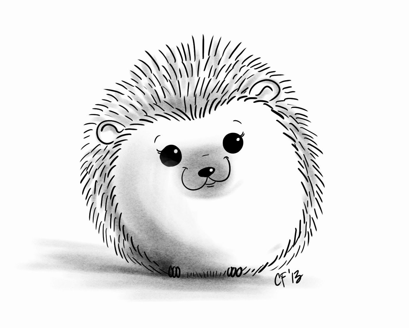 1388x1116 Hedgehog Drawing