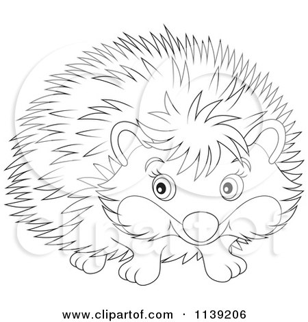450x470 Cartoon Of A Cute Black And White Hedgehog