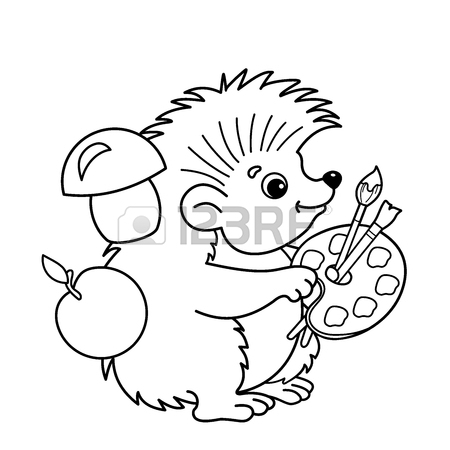 450x450 Coloring Page Outline Of Cartoon Hedgehog With Pencil. Coloring