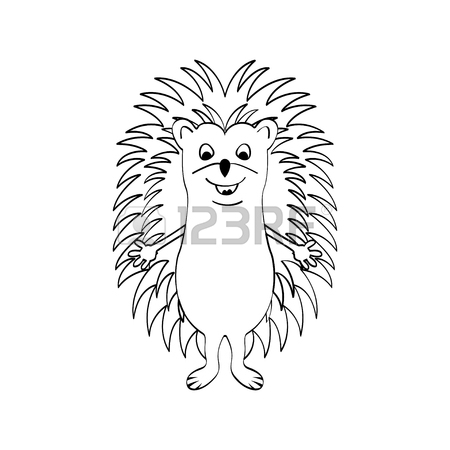 450x450 Funny Hedgehog Sketch Drawing, Isolated On White Background