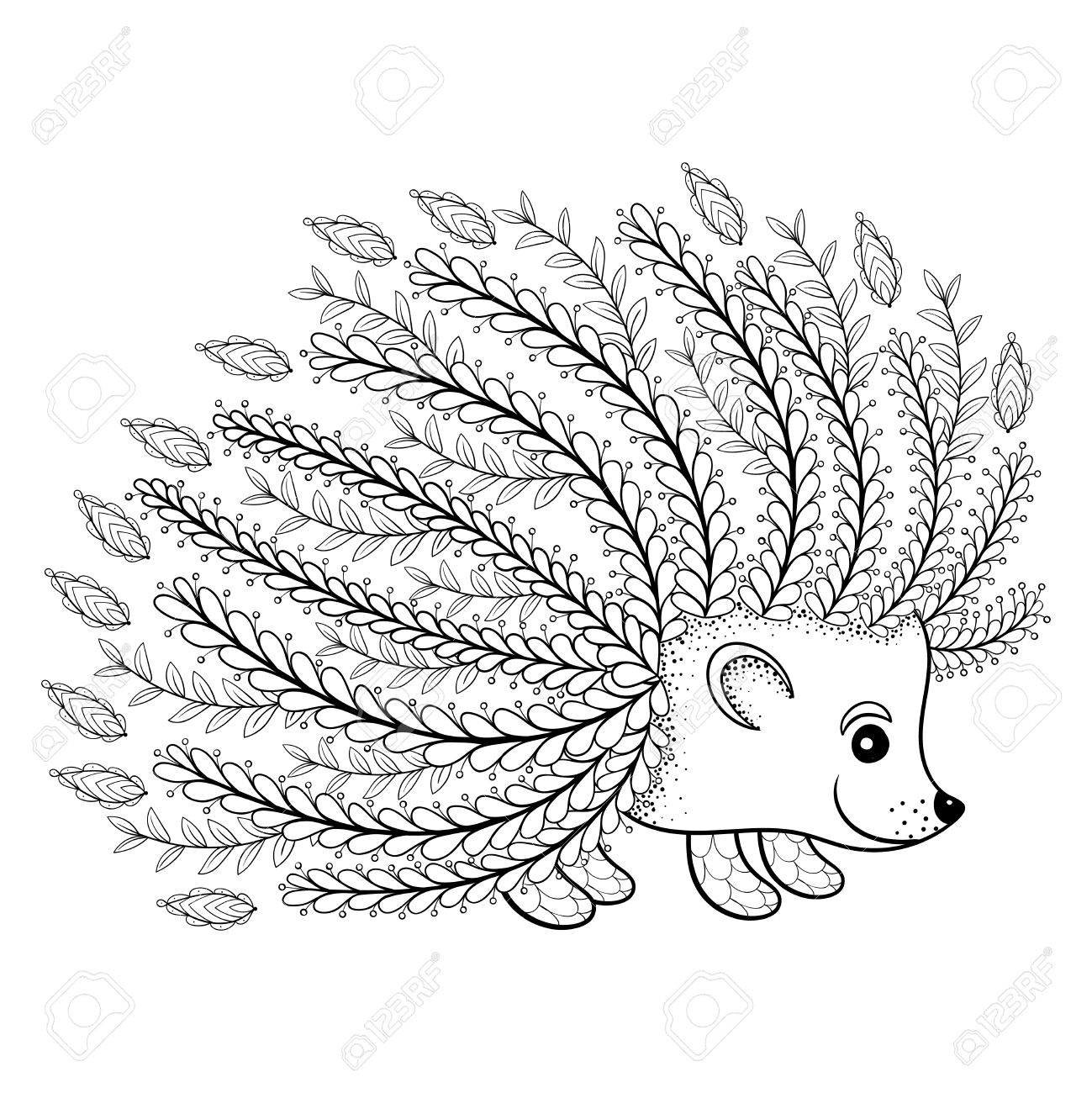 1299x1300 Hand Drawn Artistic Hedgehog For Adult Coloring Page In Doodle