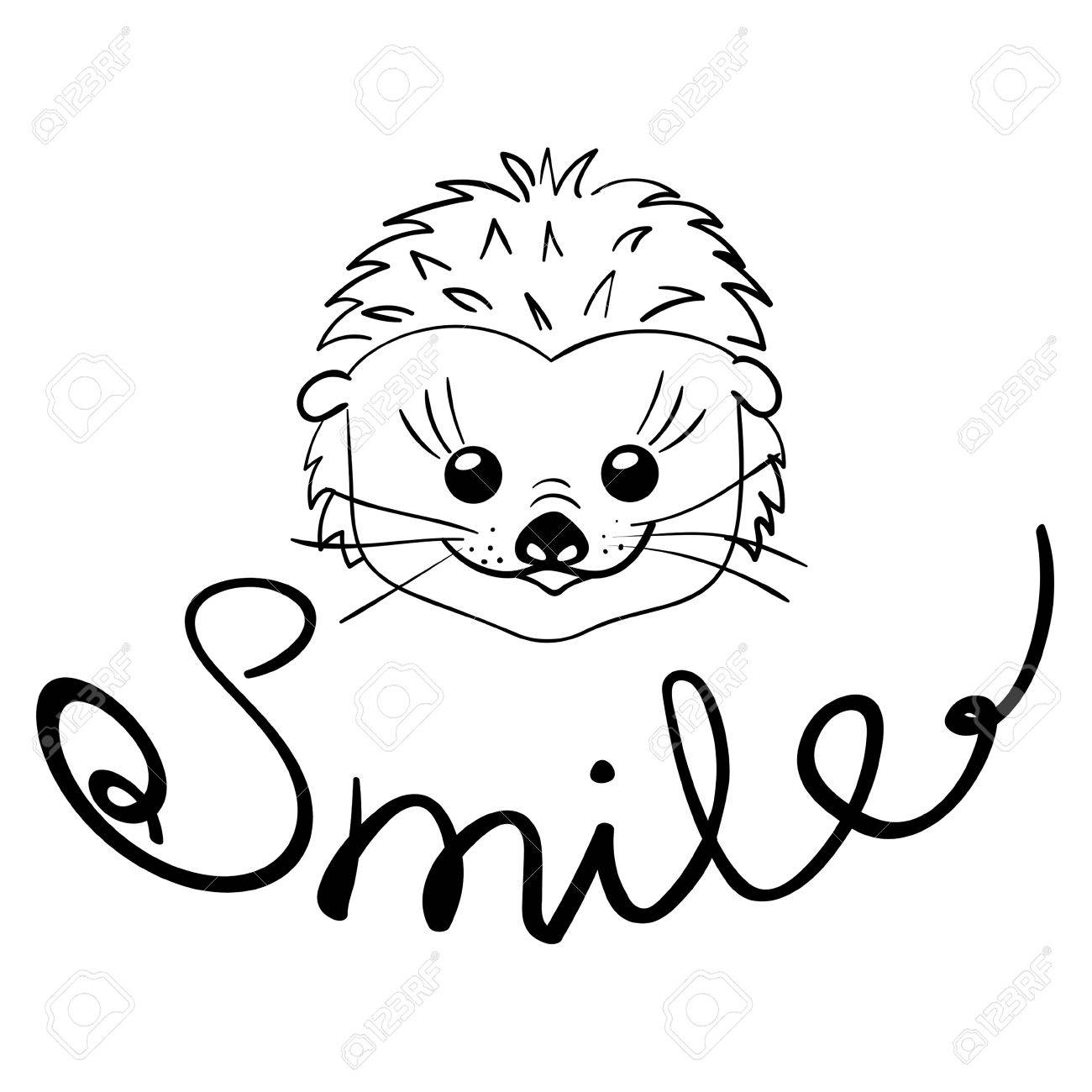 1300x1300 Smile. Inspirational Quote. Cute Smiling Hedgehog. Vector