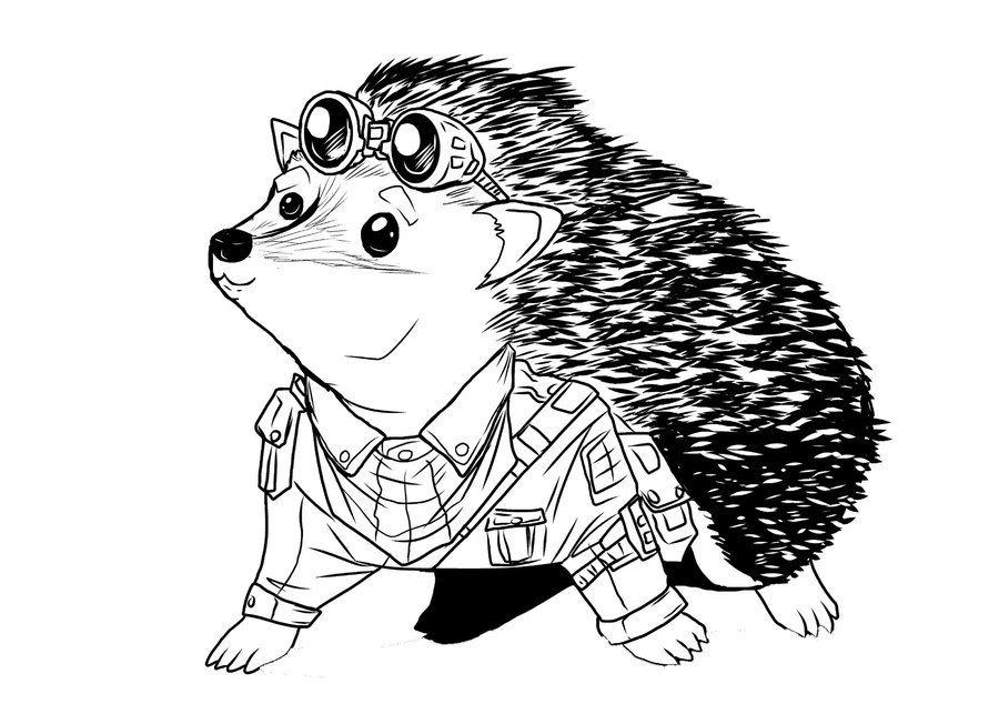 900x643 Steampunk Hedgehog Lineart By Chrisholm