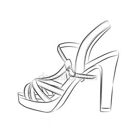 450x450 Lady High Heel Shoe Sketch Icon Stock Vector Rastudio