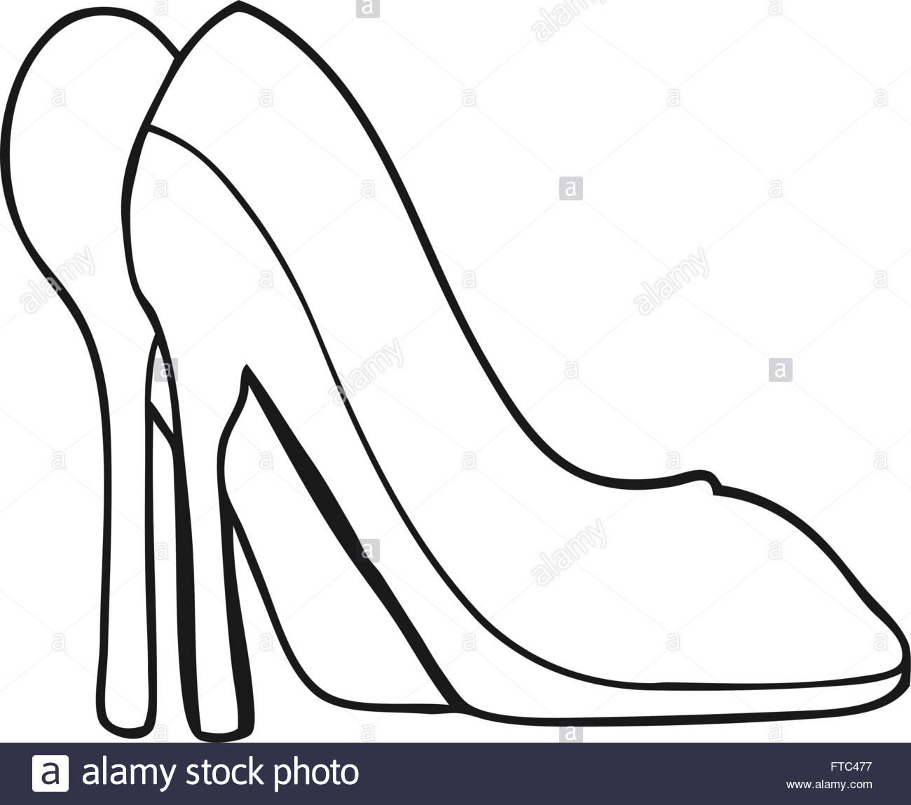 1300x1149 Freehand Drawn Black And White Cartoon High Heel Shoes Stock