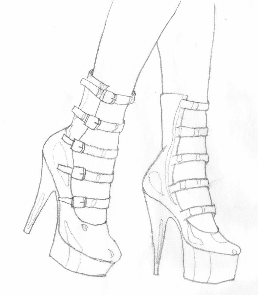 837x956 High Heel Drawing By Dapopdude