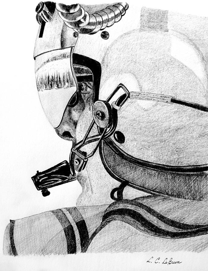 690x900 Helicopter Pilot Drawing By L C Lebrun