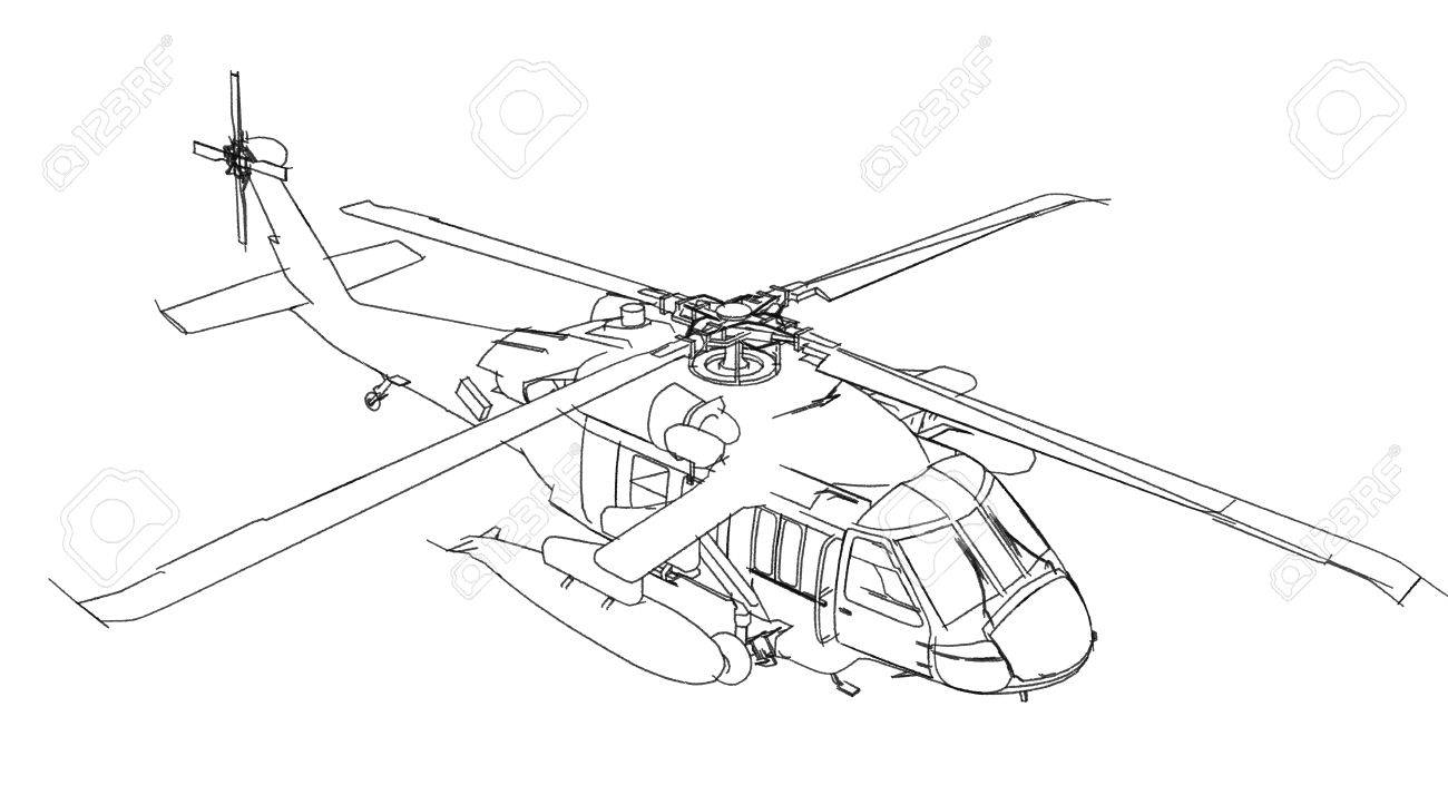 1300x723 Helicopter Sketch Isolated On White Background Stock Photo