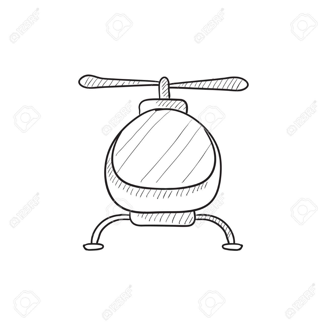 1300x1300 Helicopter Vector Sketch Icon Isolated On Background. Hand Drawn