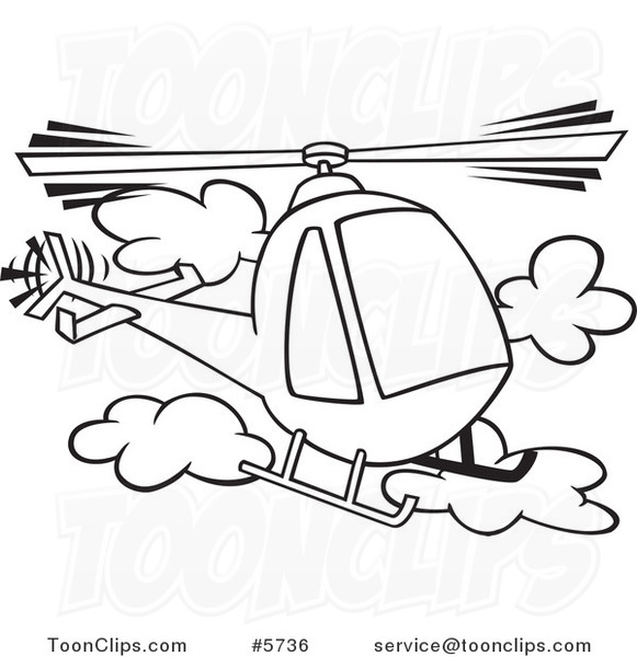 581x600 Cartoon Black And White Line Drawing Of A Helicopter In The Clouds