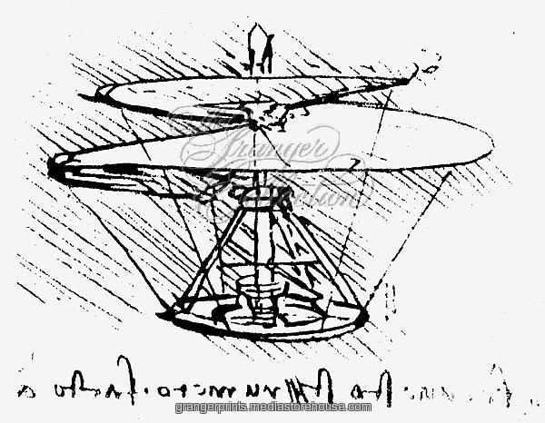 600x466 Drawing, C1486 90, Of A Helical Screw Helicopter.