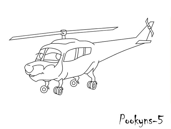 600x454 Helicopter Line Art By Pookyhorse