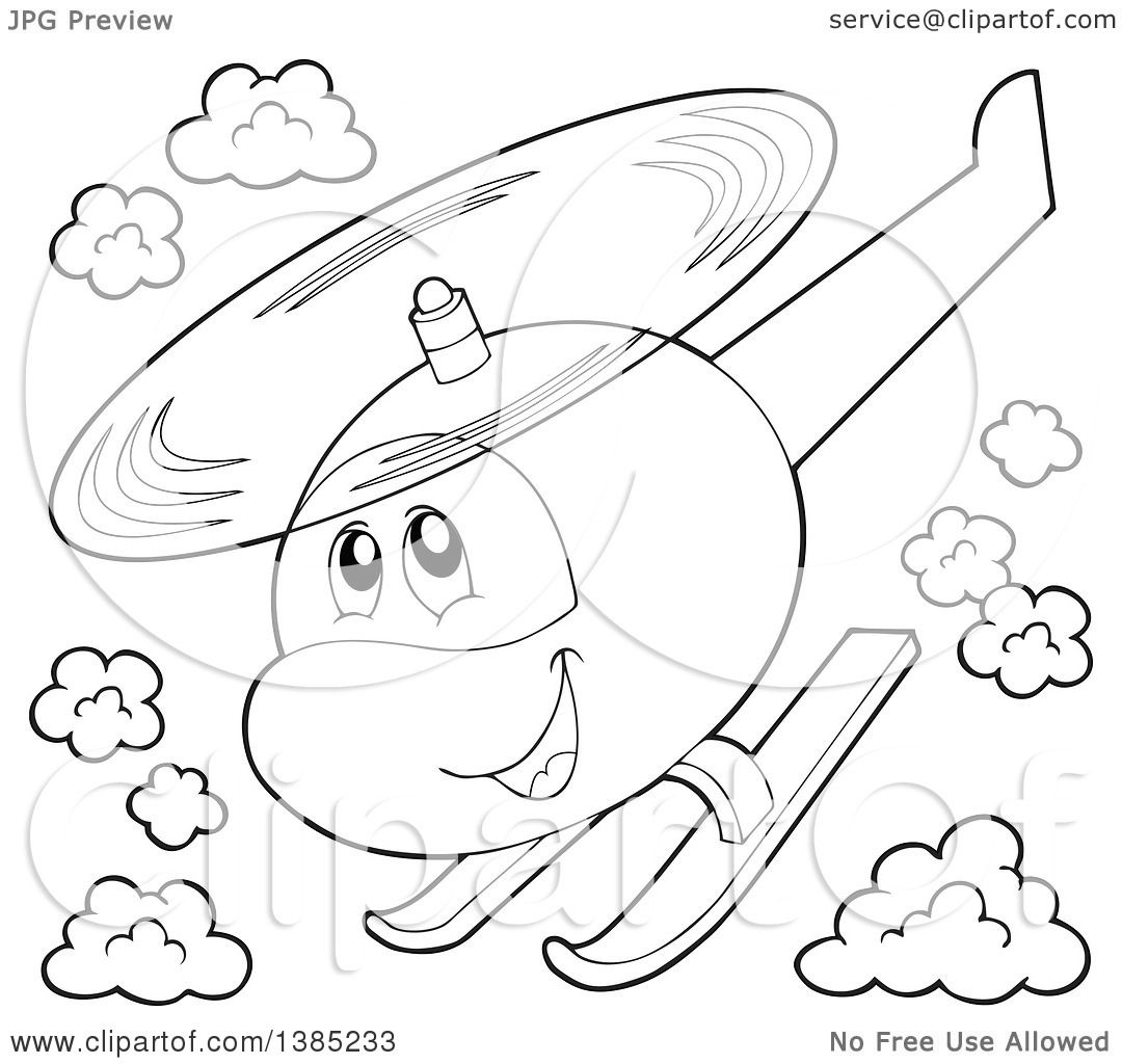 1080x1024 Clipart Of A Black And White Lineart Happy Cartoon Helicopter