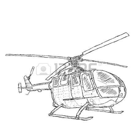 450x450 Hand Drawn Illustration Of A Melitary Helicopter Royalty Free