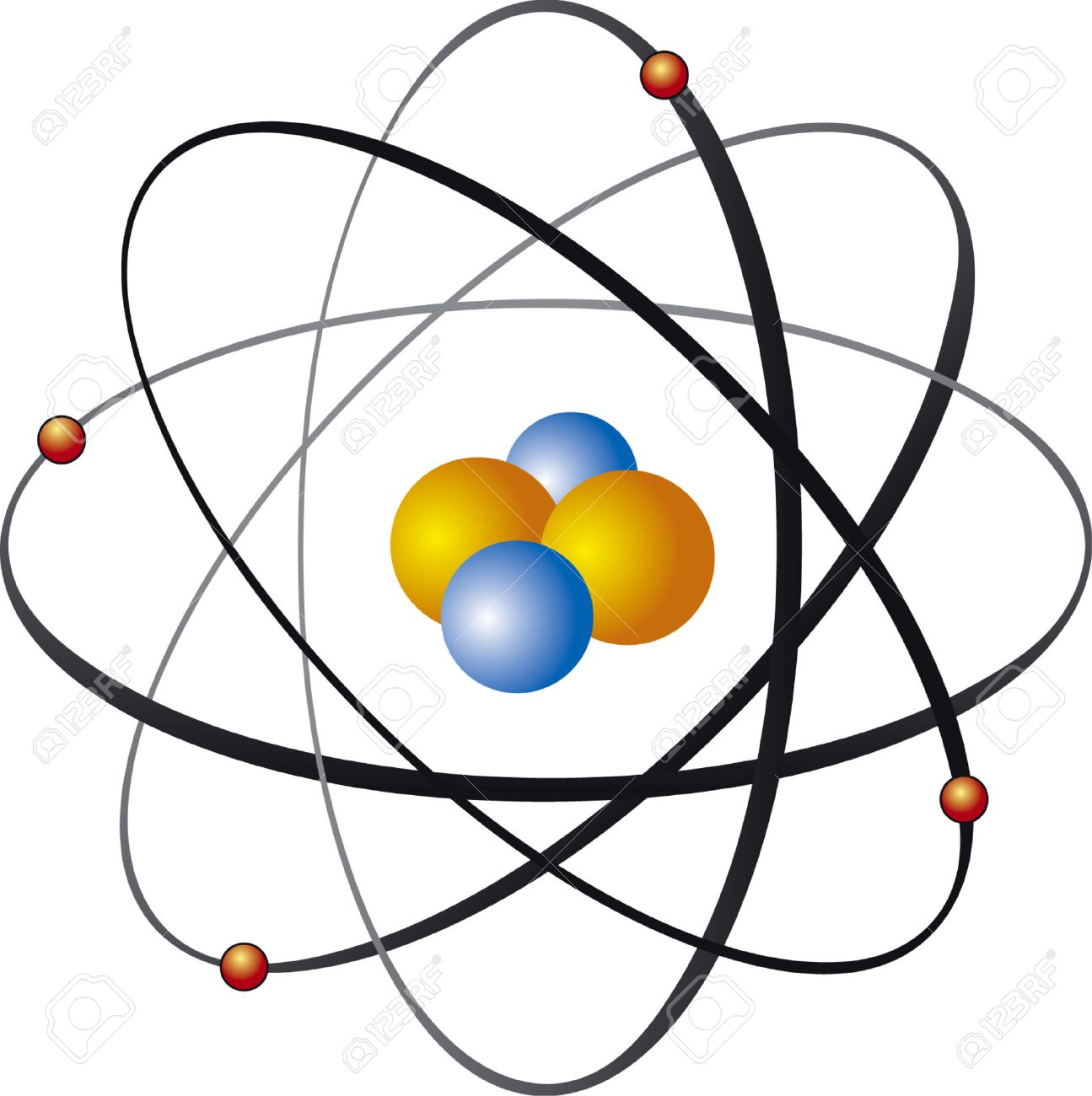 1295x1300 Vector Illustration Of Atom Nucleus Royalty Free Cliparts, Vectors