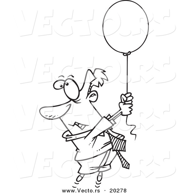600x620 Vector Of A Cartoon Businessman Rising Into The Air While Holding