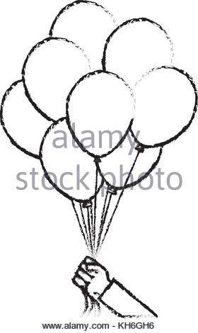 280x470 Hand Holds Bunch Of Brightly Helium Balloons Stock Vector Art