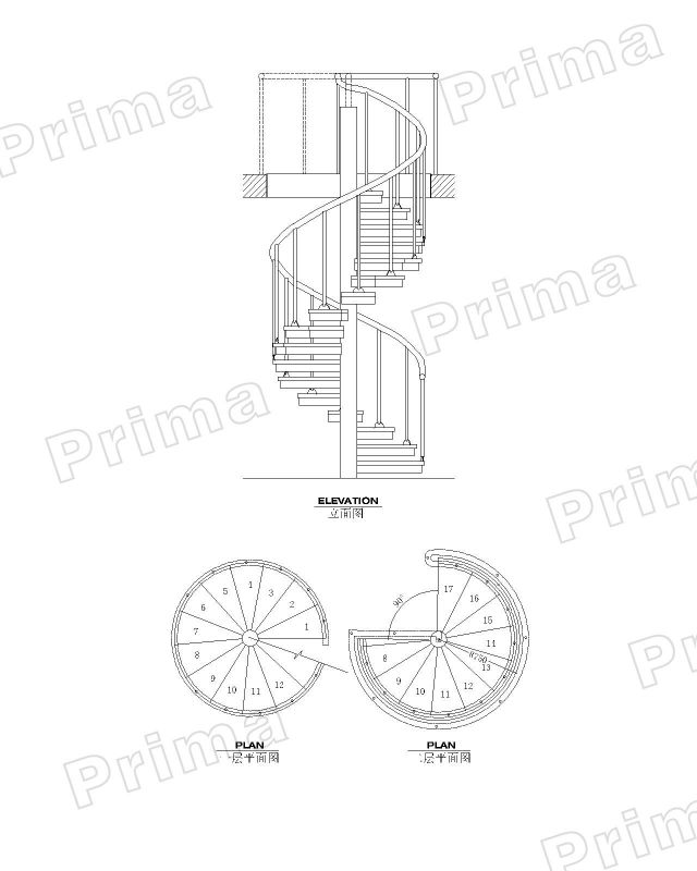 640x800 Contemporary Indoor Double Helix Wrought Iron Indoor Staircase