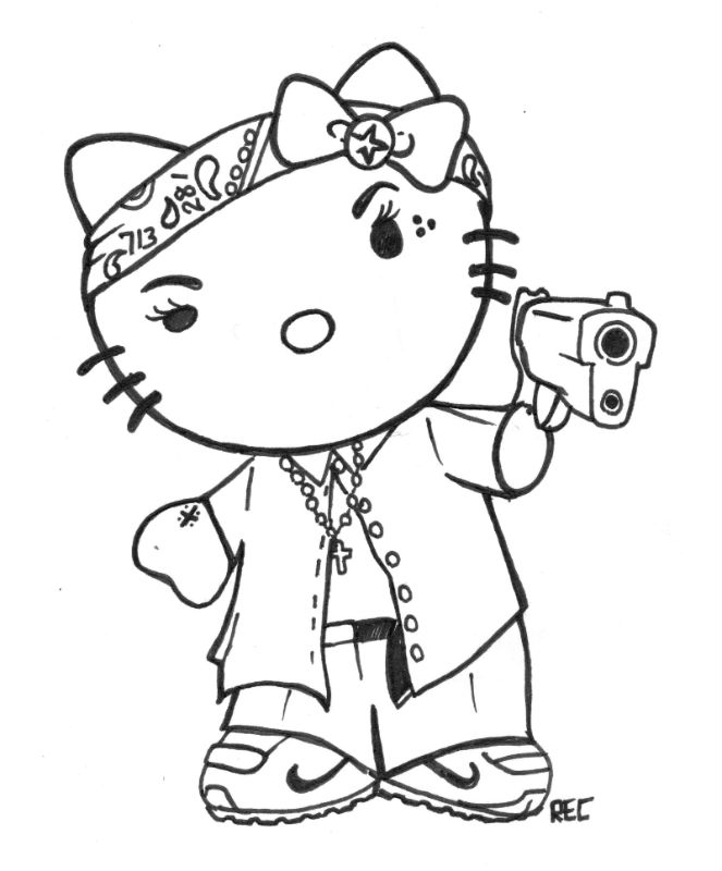 663x800 H Town Tattoo,hello Kitty Chola 713 Rec By Txrec