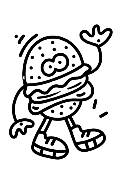424x600 Hello Burger' Original Drawing Mrdoodleshop
