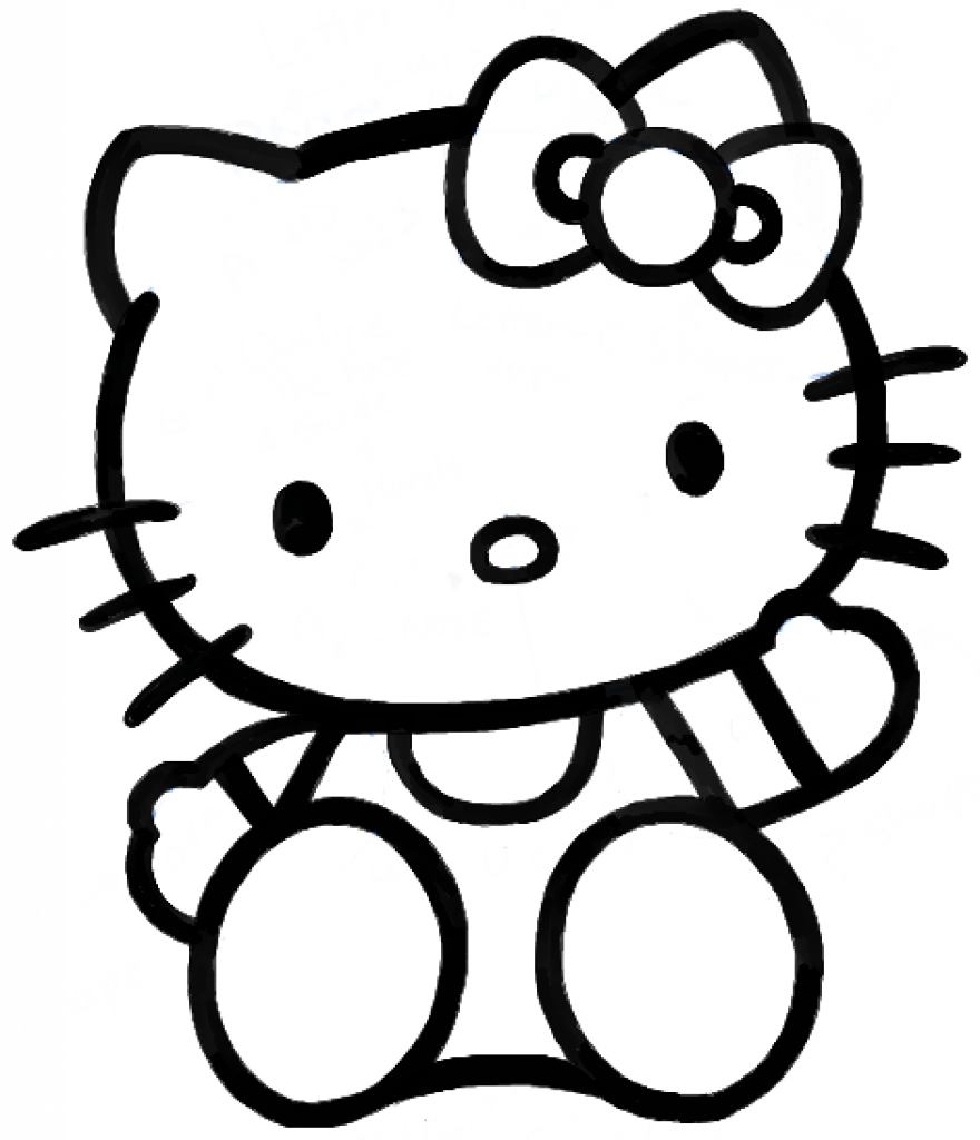 880x1024 How To Draw Hello Kitty Sitting With Simple Steps For Kids How