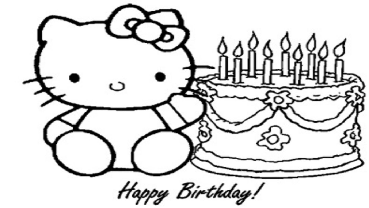 1280x720 How To Draw Hello Kitty And Birthday Cake