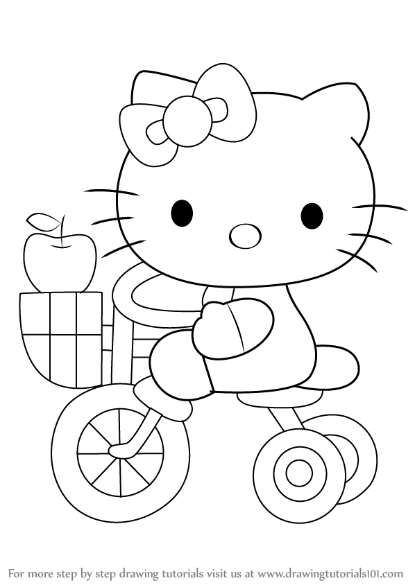 598x844 Learn How To Draw Hello Kitty On Tricycle (Hello Kitty) Step By