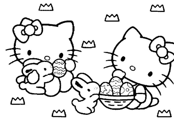 735x522 Hello Kitty Easter Coloring Pages