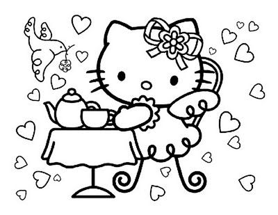 400x309 Hello Kitty At Museum Coloring Pages Colouring For Humorous Draw