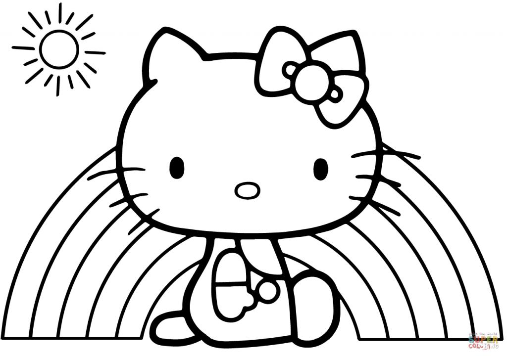 1024x724 Hello Kitty Rainbow Cartoon Coloring Page